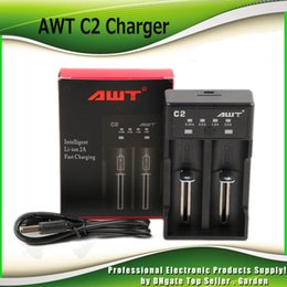 Wholesale battery fast charger - 100% Hight Quality Clone AWT C2 Battery Charger Dual Slot Intelligent for 18650 3000mAh 3500mAh 20700 21700 Battery 2A Fast Charging DHL