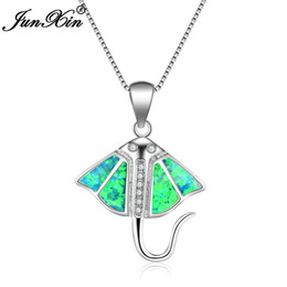vintage opal necklaces Coupons - Fashion Female Blue White Fire Opal Necklace 925 Sterling Silver Filled Necklaces & Pendants For Women Vintage Animal Jewelry