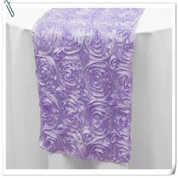 Wholesale Purple Table Runners Wholesale - 20pcs Top Quality 3D Rosette Embrodiery Purple Table Runners 30x275cm For Weddings Events &Party &Banquet Decoration