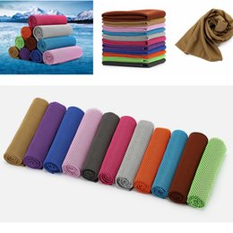 Wholesale Instant Heating - 30*90cm 11colors Microfiber Reusable Instant Cooling Cold Chill Heat Relief Sports Towel for Running Biking Travel Camping AAA403