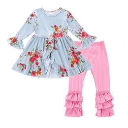 Wholesale Dovetail Shirts - Cute Baby Kids Girls Clothes Flower Floral T-shirt Dovetail Dress + Pants Tights 2pcs Outfit Sets 2018 Children Girls Clothing Set