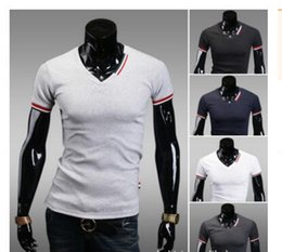 Wholesale Slim Fit Blouse - Wholesale-New Casual Men's Slim Fit V-neck Short Sleeve T-Shirt Tops Blouse Tee Drop shipping 16532