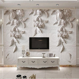 Orchidea 3d online-Personalizzato di qualsiasi dimensione 3d Photo Wallpaper Murale Wall Sticker 3d Stereo Bianco Europeo Carving Orchid Hotel TV Sfondo Wall Decor Wallpaper