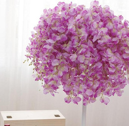 Wholesale Table Decor Purple - DIY Artificial White Wisteria Silk Flower For Home Party Wedding Garden Floral Decoration Living Room Valentine Day Centerpieces Table Decor
