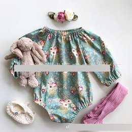 Wholesale Clothing Wholesalers America - Hot Sell Europe America Baby Girls Rompers Long Sleeve Floral Printed Kid Clothes Romper One-piece Cotton Flower Romper A8147