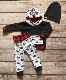 ciervos de las muchachas top de la impresión Rebajas Baby Christmas set Toddler Deer Bear print 2 unids traje Infant Boy Girl Hoodie Tops + Pants Set de ropa para 3M-4T