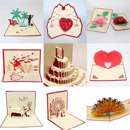 Wholesale Happy Anniversary Gifts - 3D Pop Up Cake gift cards Valentine Lover Happy Birthday Anniversary Greeting Cards 3D Animal Flwer Wheel cutting greet