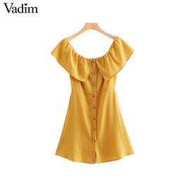 Оптовые женщины сексуальный слэш шеи белье мини-платье с рюшами пуговицы женские желтые повседневные шикарные мини-платья vestidos QA268 от
