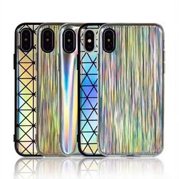 Wholesale Cool Iphone Phone Cases - Colorful Laser Case for iPhone X iPhone 8 Plus Cool Laser Rainbow Shining Case Back Cover Phone Case