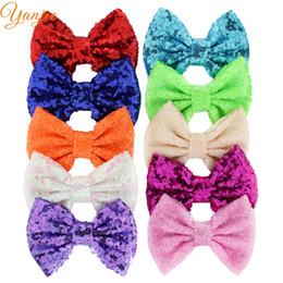 "Wholesale Big Glitter Bows - 25pcs lot 5"" Kids Girl Glitter Big Sequin Messy Hair Bows with Clip Chic European DIY Hair Accessories For Kids Barrette Hair Clip Rainbow"