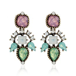 Wholesale Jewelry Young - European and American young women fashion temperament diamond earrings zinc alloy long personality crystal vintage jewelry
