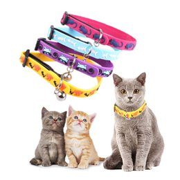Wholesale Kitten Bell - Soft rubber collar with bell for kittens Elastic cats necklaces pet dogs cat animals collars adjustable dog cat puppy products
