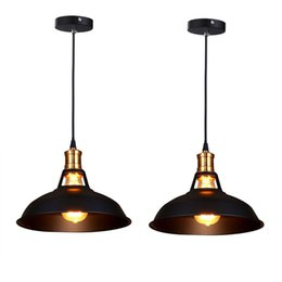 Wholesale Black Metal Lamp Shade - Retro Industrial Simplicity Chandelier Vintage Ceiling Lamp with Metal Shiny Nordic style Shade (Set of 2 Black)