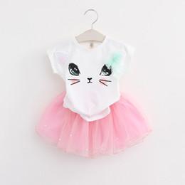 Gato tutu rosa online-Nuevos conjuntos de niñas Ropa de verano para niña Animal lindo Cat Tops Tee + Lace Tutu Pearl Faldas 2pcs Conjunto Trajes Rosa Negro Gris A8987