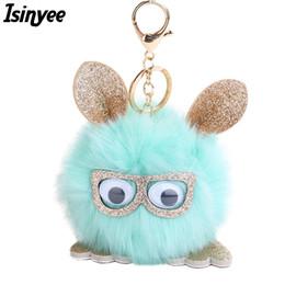 Wholesale Leather Toy Animals - ISINYEE Cute Fluffy Owl Pom Pom KeyChains Handmade Women Leather Ear Faux Bunny Rabbit Fur Pompoms Keychain Pluff Toy Bag Car