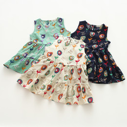 INS Çiçek Pamuk Elbiseler Kızlar Çiçek O-Boyun Plaj Elbise Sevimli Bebek Yaz Çocuklar Vintage Çiçek Elbise 3 Renkler nereden