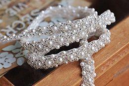 Wholesale White Beaded Bridal Belt - 1 Yard Silver Beaded Rhinestone trim Bridal Crystal Trim Wedding Applique Belt