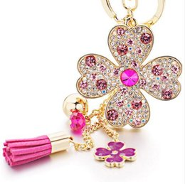 Wholesale Lucky Ring Red - Lucky Four Leaves Clover Crystal Key Ring Chains Holder Tassel Bag Buckle Pendant For Car Keyrings KeyChains