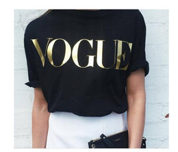 Wholesale Vogue Prints - Fashion T Shirts for Women T-shirt Gold VOGUE Letter Women Short Sleeve Crew Neck Graphic Tees Casual Womens tops