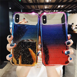 Cubierta de la caja de la gota de agua del iphone online-Elegante raindrop 3D decolorada caja de la contraportada Color degradado drip-drop cáscara del teléfono con espejo de maquillaje para iPhone X 10 6s 7 8 Plus