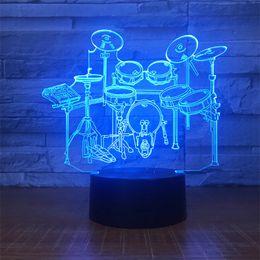 iluminação de energia Desconto Atacado 3D Gradiente de Luz Noturna Controle de Toque Drum Kit Padrão Estéreo Acrílico Colorido Lâmpada de Luz de Energia Noite lâmpada de ilusão 3D