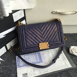 Wholesale Quilted Crossbody Bag - Highest Quality 25CM Caviar Leather Chain Bag Quilted Boy Flap with Ancient Gold Chian Retro Colors Designer Crossbody Bags
