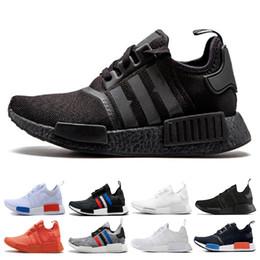NMD Runner R1 кроссовки Япония тройной черный белый красный РК ОГ трехцветные Мужчины Женщины кроссовки тренер мужская спортивная обувь размер 36-45 cheap japan shoe sizes от Поставщики размеры обуви япония