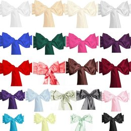 Wholesale chair ties for weddings - 100.39*5.91 inch Satin Chair Sash Bow Ties For Banquet Wedding Party Butterfly Craft Chair Cover Decor Supplies 21Colors