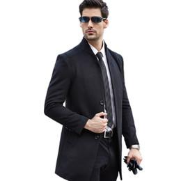 Wholesale Korean Men Winter Vest - Trench Coat Men 2017 New Korean Winter Men's Woolen Blended Coat Collar Design Long Khaki Outwear Overcoat Manteau Homme
