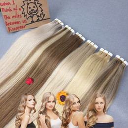 """Wholesale Cheap Real Hair Extensions - Tape Hair Extensions Light Blonde Real Human Hair Skin Weft 100% Peruvian Straight Remy Human Hair 18"""" 20"""" 22"""" 24"""" 100g 40pieces Cheap"""