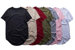 Мужские Kanye летние футболки сплошной цвет случайные свободные ярус подол изогнутые футболки расширенный Homme топы с короткими рукавами тройники от