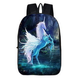 Wholesale Horse School Backpacks - 3D Fantastic Animal Prints Horse Unicorn Backpacks for Teenagers Boys Girls Kids Backpack School Bags Children Mochila Escolar