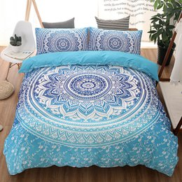 Wholesale King Size Comforter Set Purple - Bohemian bedding sets Mandala Printing Blue Black White boho Single Double Queen King Size Duvet Cover set (no filling,no sheet)