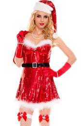 vermisse santa Rabatt Neue 2017 Heiße Weihnachten Kostüme Festliche Cosplay Sexy Sparkly Miss Santa Kostüme LC7253 Neujahr Kleidung Für Frauen