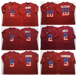 Wholesale Alabama Flags - 3 RIDLEY 2 HENRY 9 COOPER 10 McCARRON 2 HURTS 9 SCARBROUGH Men Alabama Crimson Tide Red Flag Jersey