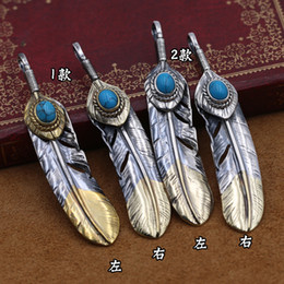 thai silver chains Promo Codes - S925 Sterling Silver Jewelry Retro Thai Silver Takahashi Goro Feather Male And Female Pendants Sweater Chain Pendants