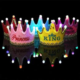 Chapéu bonito das crianças on-line-Decorações de natal chapéus Chapeu de lantejoulas LED Feliz aniversário Bonés Decoração de festa de crianças Chapéus Espumante LED Hat Cap Lindo arnês A-591