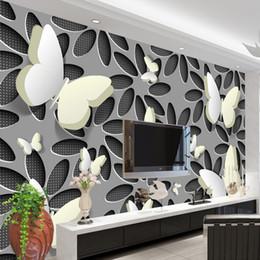 flores borboleta parede murais Desconto Personalizado Papel De Parede Murais 3D Estereoscópico Flores De Borboleta Murais De Parede Moderna Arte Abstrata Papel De Parede Cobrindo A Sala De TV