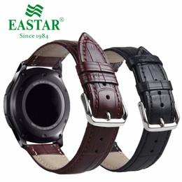 2019 relojes s3 Correa marrón negra del cuero genuino para la correa de la frontera de la correa del engranaje S3 de Samsung para la pulsera clásica del reloj de la correa Sband del engranaje S3 22m m relojes s3 baratos
