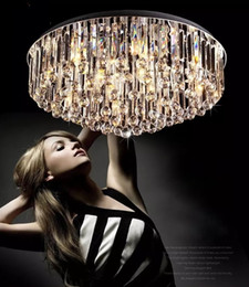 Wholesale Fixture Cover - Modern circular crystal surface flush mount ceiling lamp stainless steel crystal fashion light fixtures for ceilings modern light covers LLF