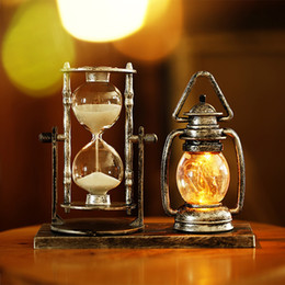 Wholesale Small Hourglasses - Retro glowing small lanterns decorative ornaments Hourglass craft desktop ornaments student gifts