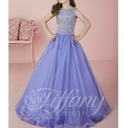 Wholesale chiffon pageant dresses girls - Princess Beads Crystal Sequins Flower Girl Dress 2018 Little Girls Pageant Dresses Ball Gown Flower Girls Formal Tutu Party Dress for Kids