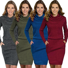 Wholesale Sexy Business Casual Dresses - Women Dresses Casual Turtleneck Dress Fashion Long Sleeve Dress Slim Dress OL Business Sexy Dresses Women's Clothing KKA3800