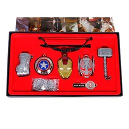 Wholesale thor key ring - 6pcs set Avengers Gift Set Age of Ultron Thor Hammer Cosplay Gloves Key Ring Model Metal Necklace Pendant Keychain Gifts CCA9779 2set