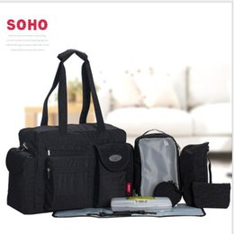 Wholesale Moms Bags - SoHo diaper bag City Carry all 9 pieces nappy tote bag for baby mom Maternity Baby Diaper Tote Bag with Changing Pad LJJK932