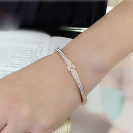 Wholesale Letter H Bracelet - fashion H letter design white gold color plated love luxury brand bracelets for women micro pave with Austria crystal