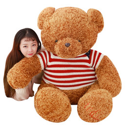 Wholesale Teddy Bears Dresses - Giant Dressed Teddy Bear Plush Toy 46.8inch Light Dark Brown Plush Stuffed Soft Teddy Animal Doll for Kids Gift
