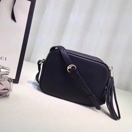 Wholesale Black Leather Cross Body Purse - G classic soho Disco Bag soft cowhide 308364 Tassel cross body Satchel women handbag purse Original quality same