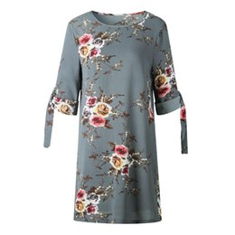crows bow Coupons - 2018 New fashion Women Large Flower Printing Vintage Crew Neck Tie Half Sleeve Floral Dress Straight O-Neck Half Sleeve Dress