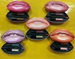 Wholesale Box Mouth - HOT Beauty lipstick Big mouth lip gloss + lip liner set makeup lipstick 5 colors 3pcs set with iron retail box